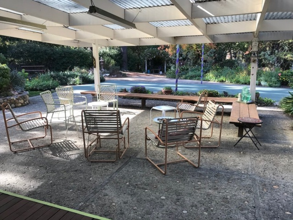 Eating and sitting area in patio under cover