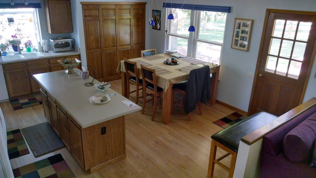 Kitchen with seating for eight