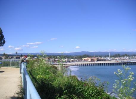 A look towards the Santa Cruz boardwalk and Wharf