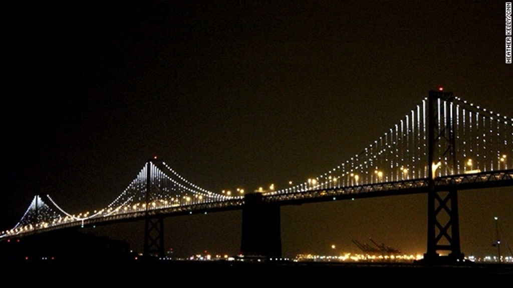 Many thousands of LEDs turn the cables of the SF Bay Bridge into a canvas for moving images through 2015.