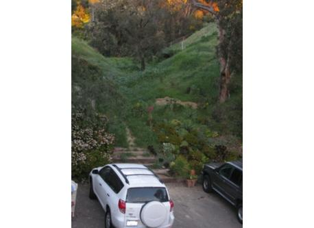 canyon during wet months and my car in back of house