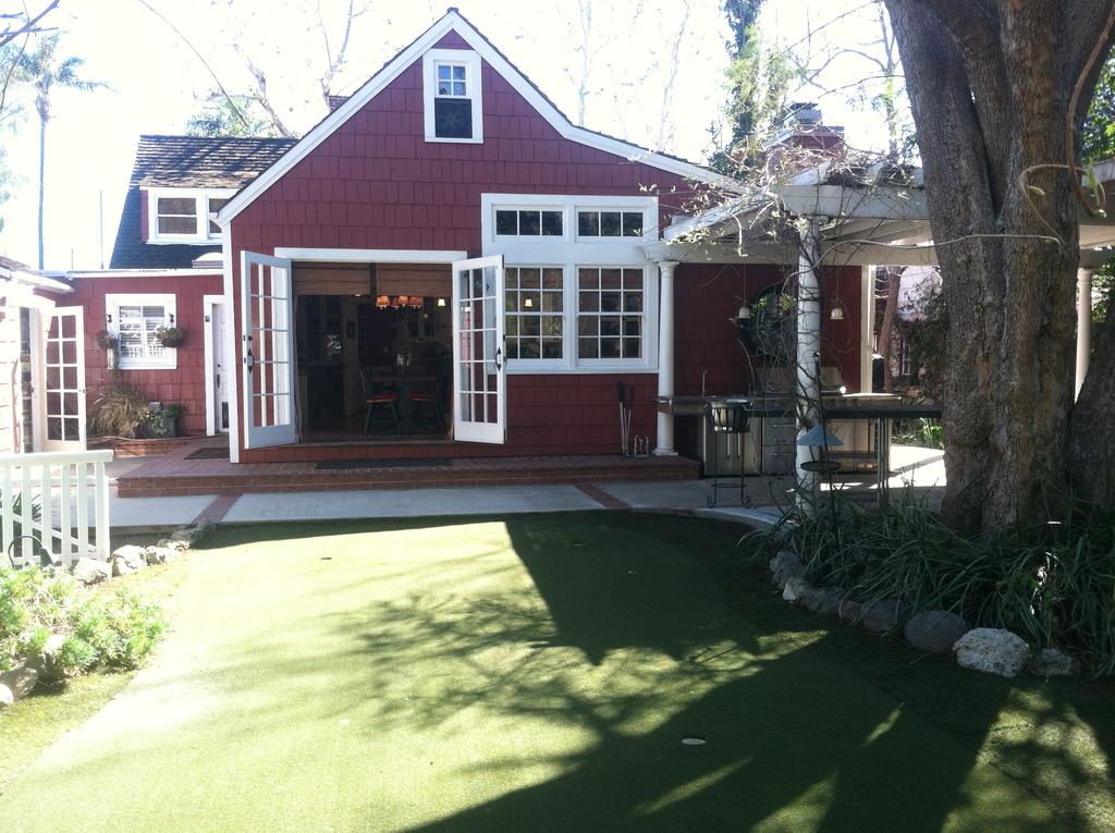 Backyard with putting green