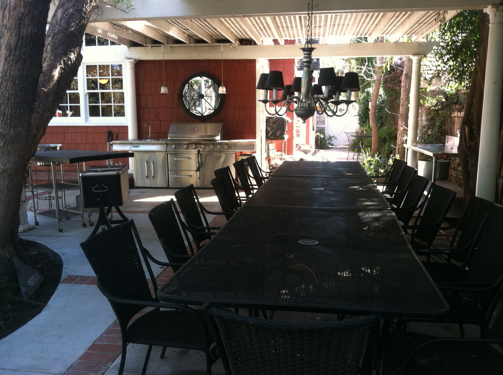 Large covered patio with seating for 18 and BBQ