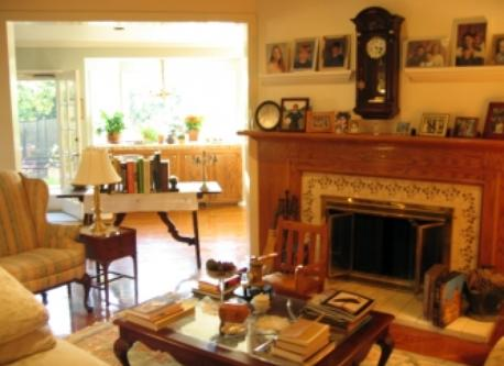 Bright living room with gas fireplace