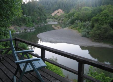 view from deck of Russian River cabin