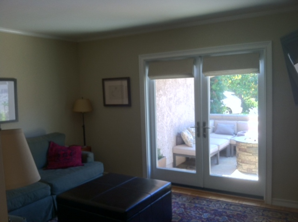 Den with French doors to front patio area