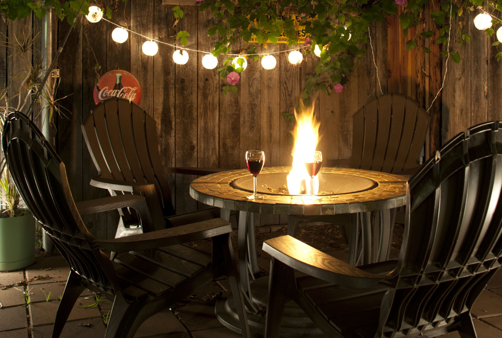 Private fire pit in back yard.