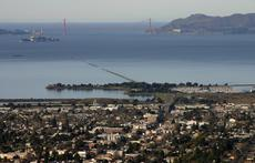 View of Berkeley across San Francisco Bay to Golden Gate, including Alcatraz Island from Berkeley Hills