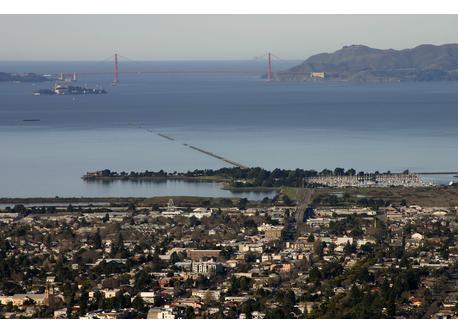View of Berkeley across San Francisco Bay to Golden Gate, including Alcatraz Island from Berkeley Hills