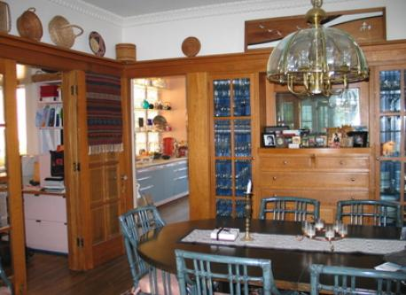 Oak paneled dining room