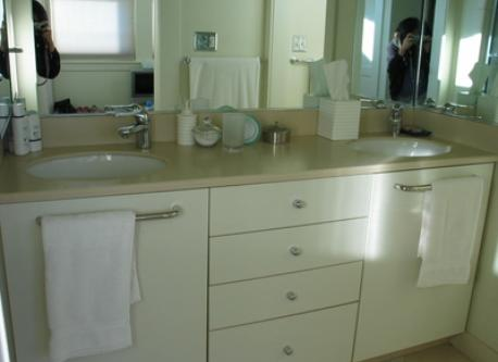 Dual vanities in master bathroom