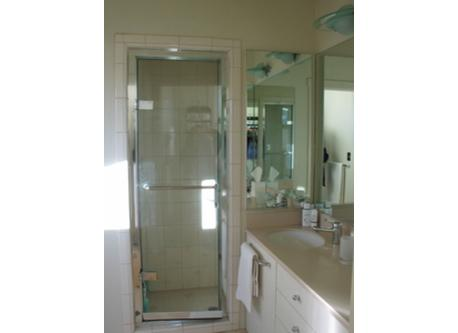 Walk in shower with steam bath, master bathroom
