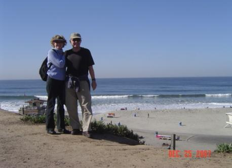 Patricia & Robert at Moonlight Beach in Encinitas on Christmas Day.