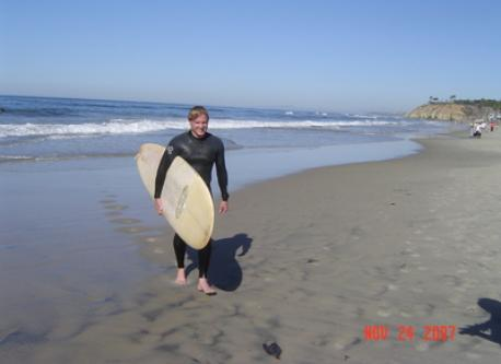 Our son after surfing at Moonlight Beach