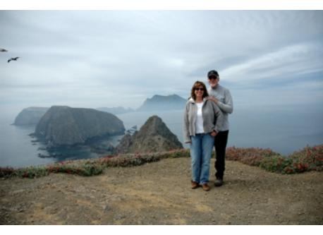 Donna and Doug hiking on East Anacapa Island.