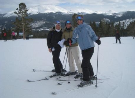 Friends skiing at the local resort, Eldora