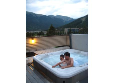 Enjoy the hot tub overlooking the mountain!