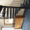 The cool retro wrought iron stairs up to the loft