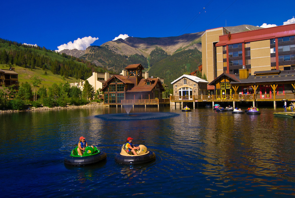 Summer at Copper--our condo is behind the pub, right above the green float!