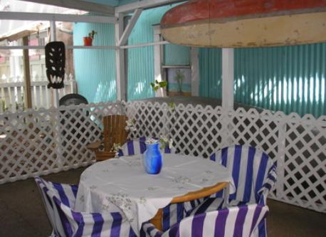The screened porch with a grill in the back for BBQ.