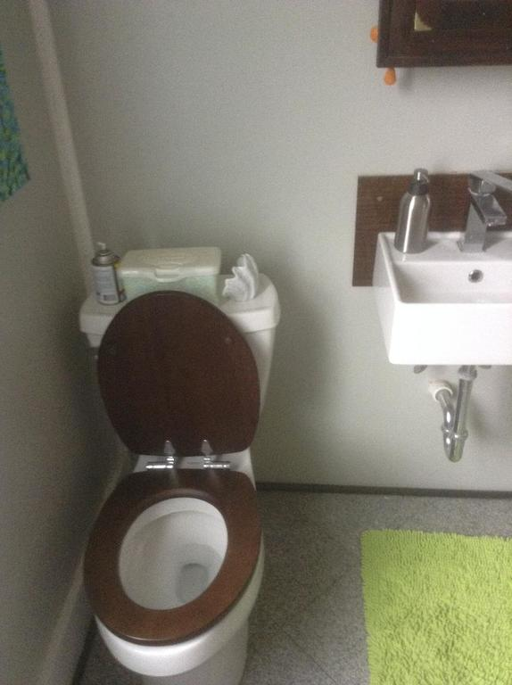 Our glamorous toilet and granite floors.  The bathroom was renovated 2 years ago.