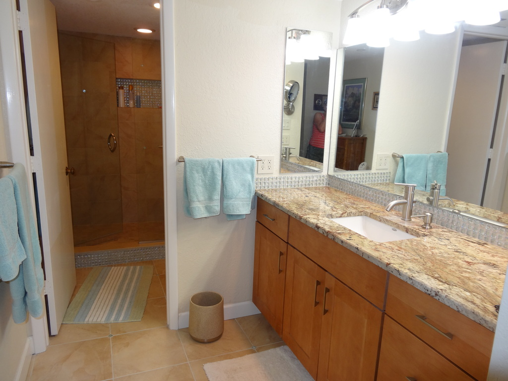 Master bathroom has large walk-in shower