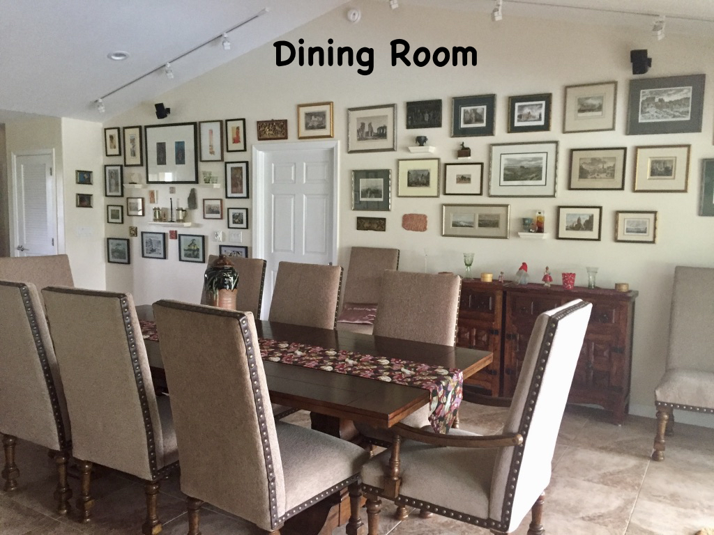 The large dining room features views of prints from all over the world