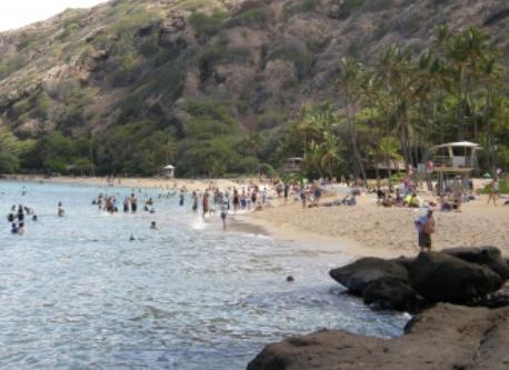 Hanauma Bay.  Oahu's most popular snorkeling location.
