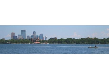 View of Minneapolis from a city lake