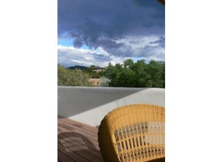 Typical skies over Santa Fe, a great place to dine al fresco.