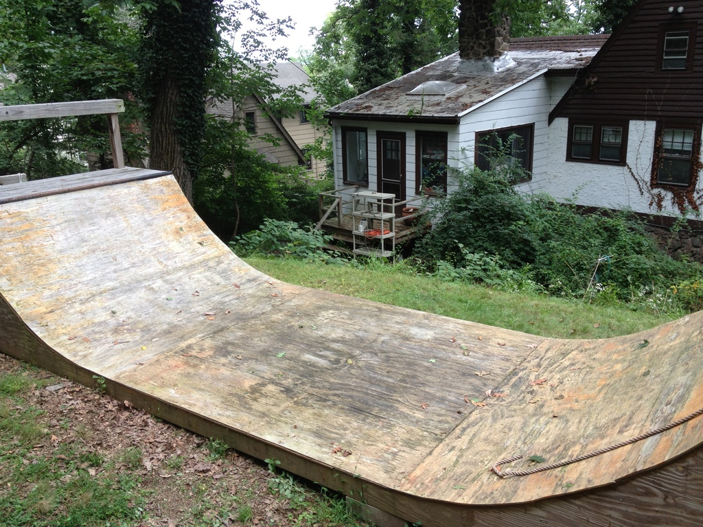 In case anyone in the family wants to skateboard, there is a half pipe in our backyard.
