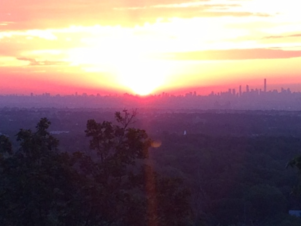 Sunrise view of Manhattan from our town of Montclair