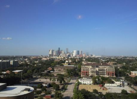 View of downtown Houston, a short metro hop away.