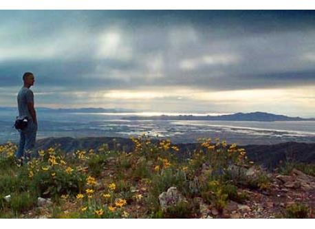 View of Great Salt Lake from Ensign Peak up the hill above our house.