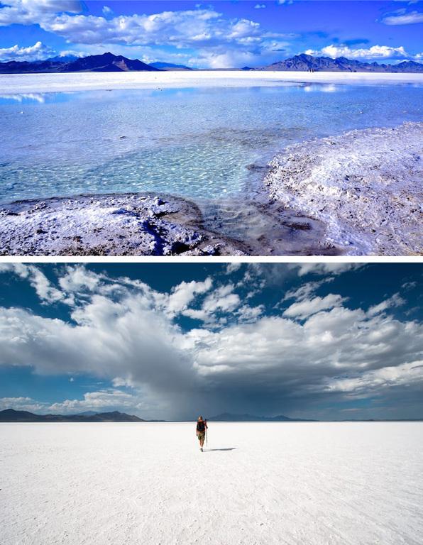 Bonneville Salt Flats. (wet and dry) 1 3/4 hrs drive