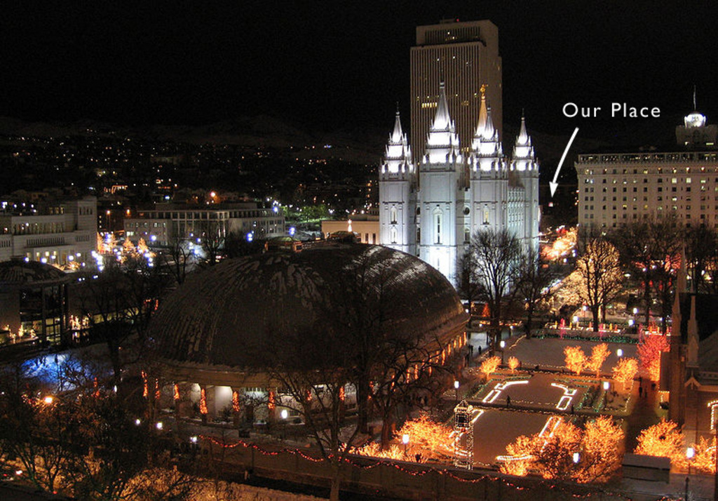 Winter image of Temple Square with location of our apartment beyond