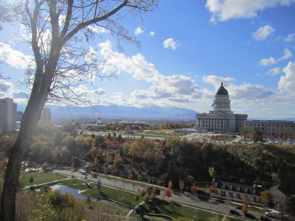 Capitol Hill above the city center and Memory Grove which is the access to City Creek Canyon for hiking and biking