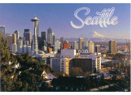 Downtown Seattle is a 20 minute drive from our house. Space Needle with  Mt. Rainier in background.