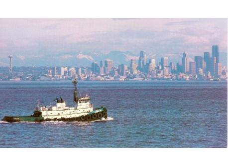 The Seattle skyline as seen from a Puget Sound tugboat.
