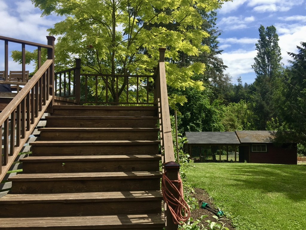 stairway to bay side deck
