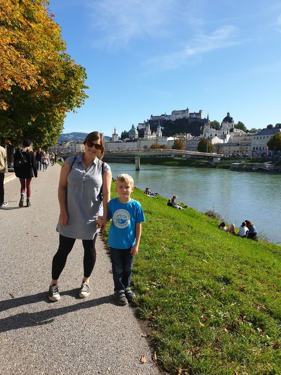 Me with our son in Salzburg