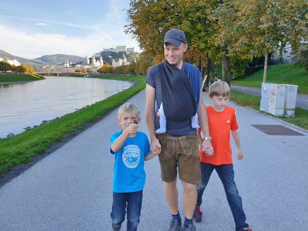 Martin with our 3 kids in Salzburg