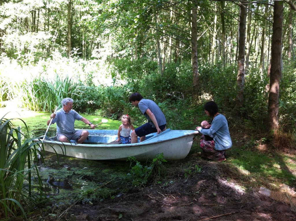 Rowing boat in our forest ,with Bruno, daughter Helena, son-in-law Hendrik,grandchildren Bérilune and Amauri