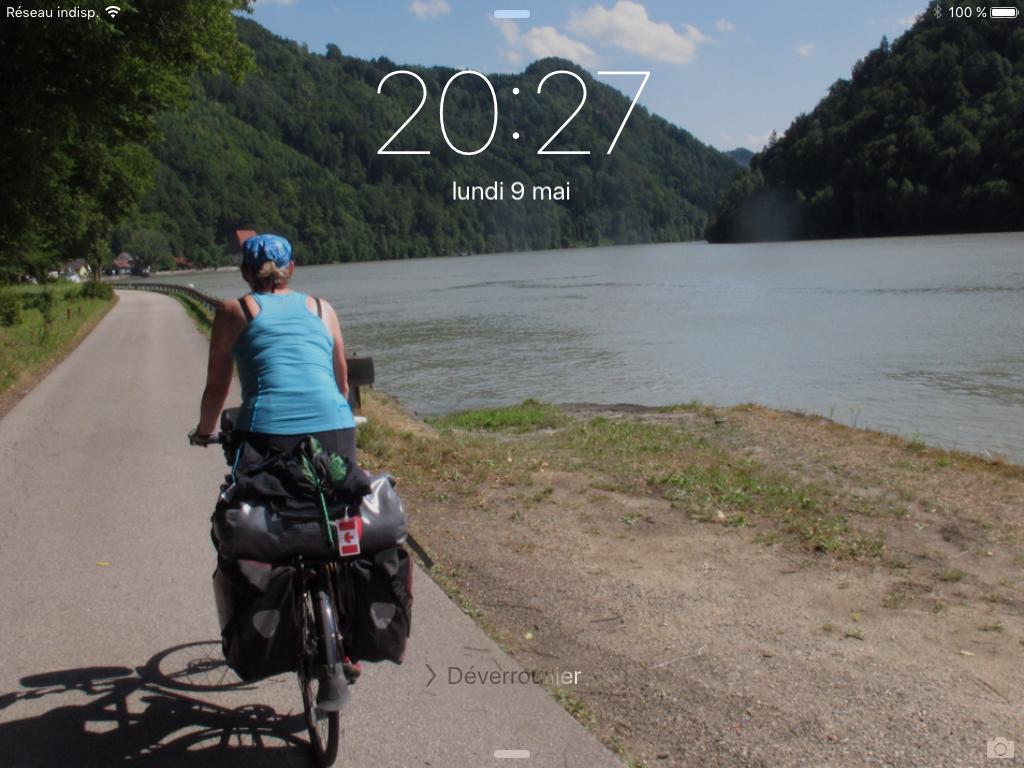 Johanne lors de notre voyage vélo de trois mois en Europe