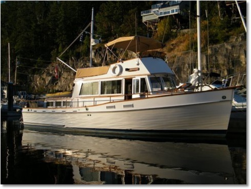 "Our 1973 Gand Banks 42 ""Change of Heart"" docked at a stopover in Secret Cove while enroute to Desolation Sound."
