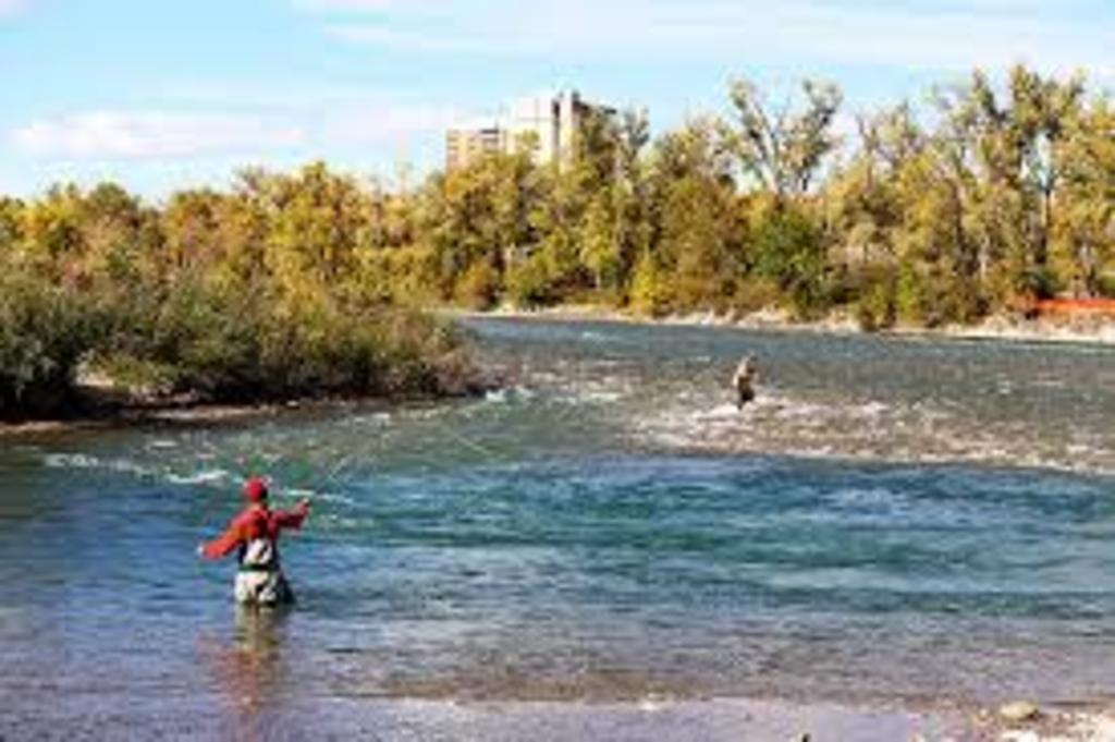 Fly fishing on the Bow River, with Calgary in the distance.