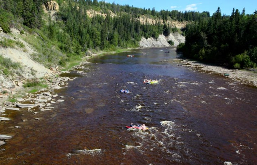 Relaxing float down the Pembina river - a great way to cool off on a hot day.