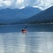Kayaking on a BC glacier fed lake.