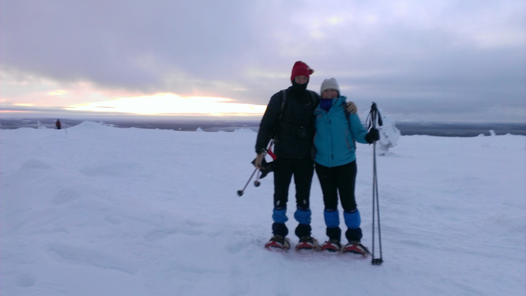 Martin and Ursula snowshoeing in Finland