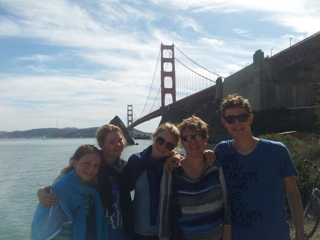 my whole family with GoldenGate Bridge